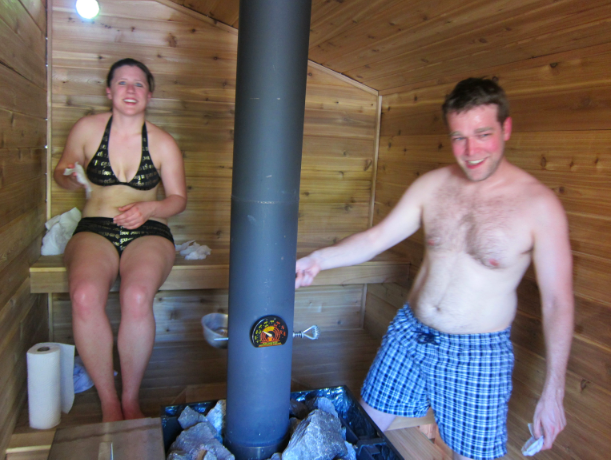 Maura harvests her own sweat while enjoying a sauna session with Ian.
